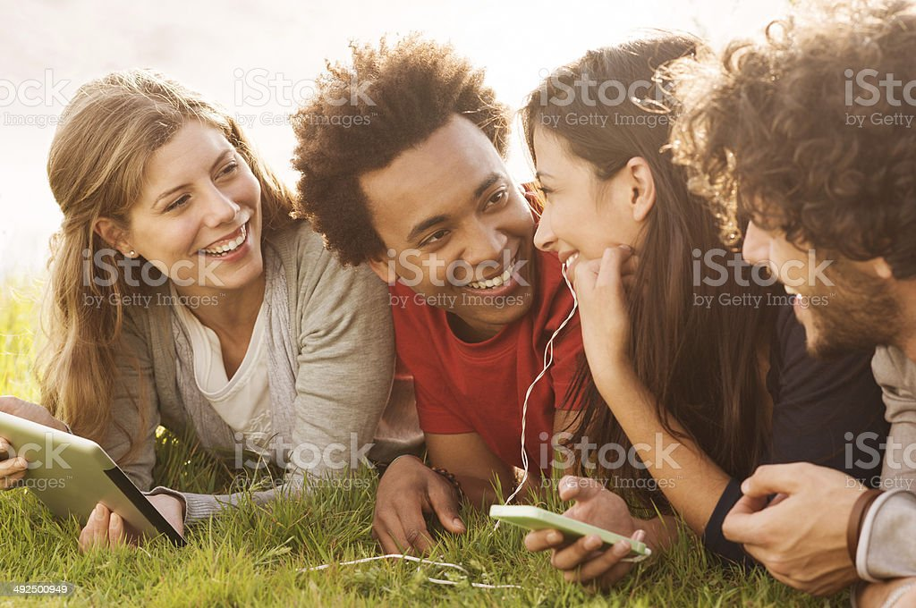Happy friends together outdoor stock photo