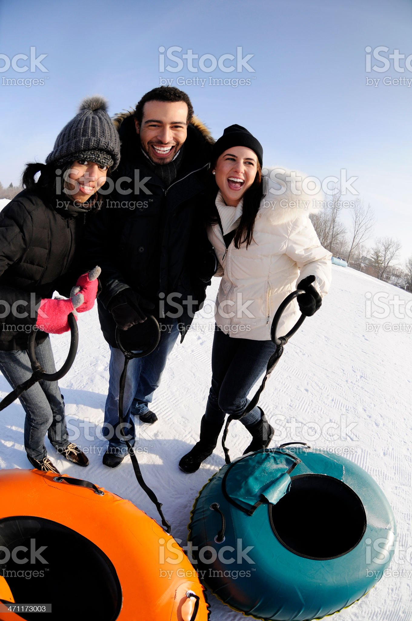 Happy Friends Tubing royalty-free stock photo