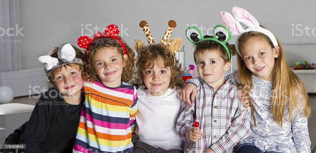 Happy friends with animal headband stock photo