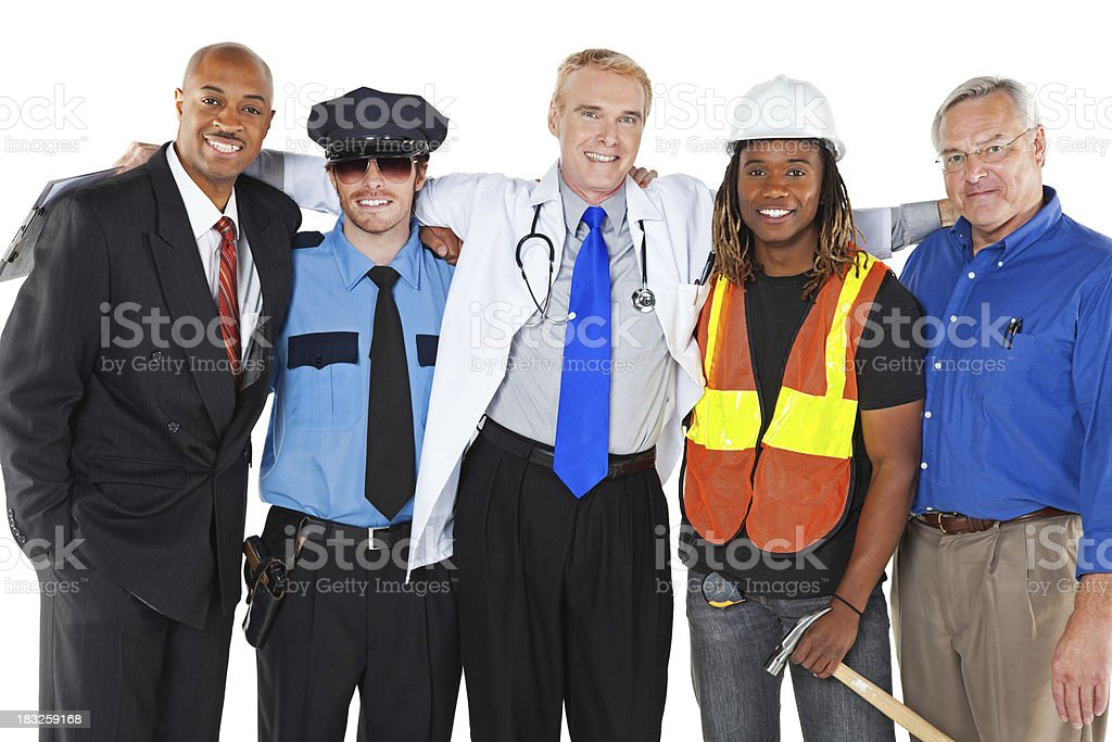 Happy Friends With Different Occupations royalty-free stock photo
