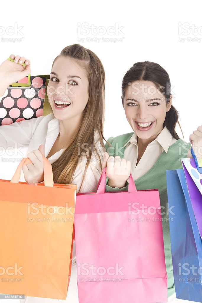 Happy Friends with Shopping Bags royalty-free stock photo