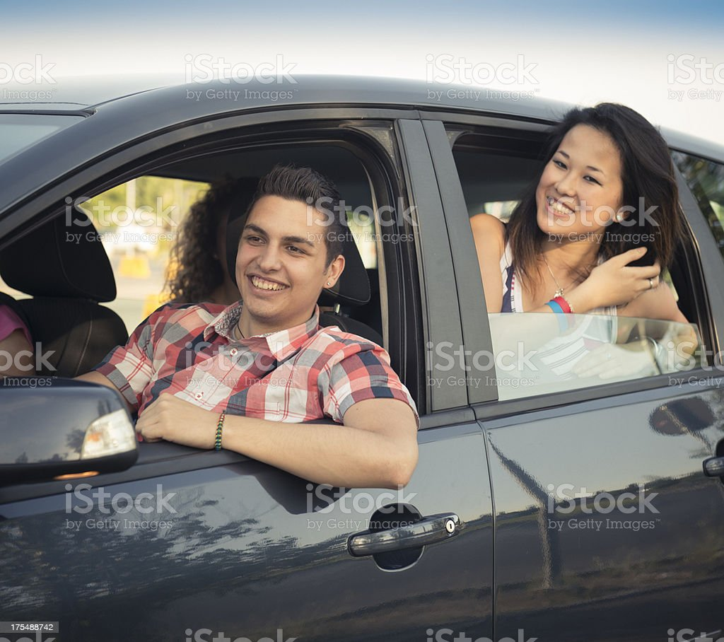 Happy friendship ready for a vacation royalty-free stock photo