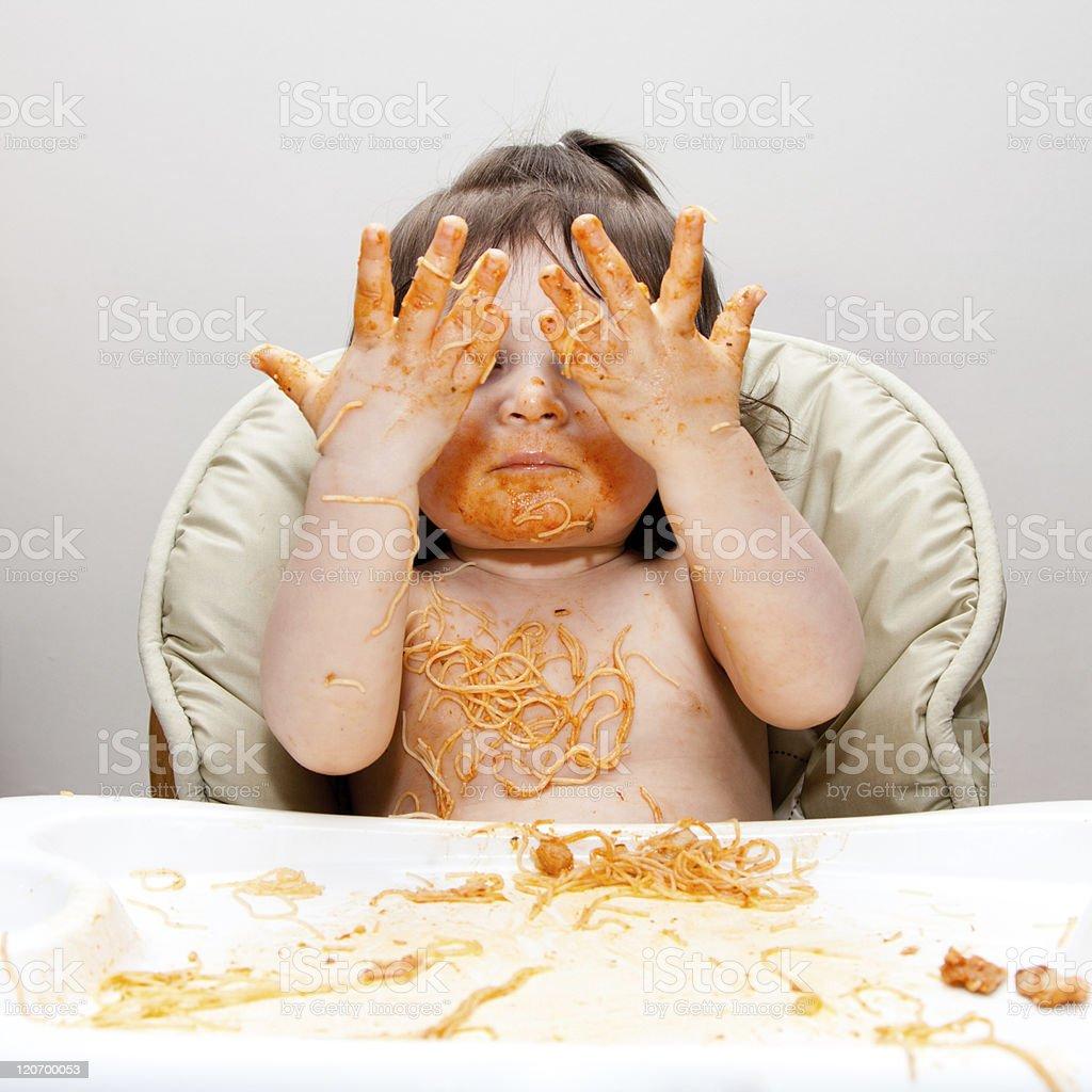 Happy funny messy eater royalty-free stock photo