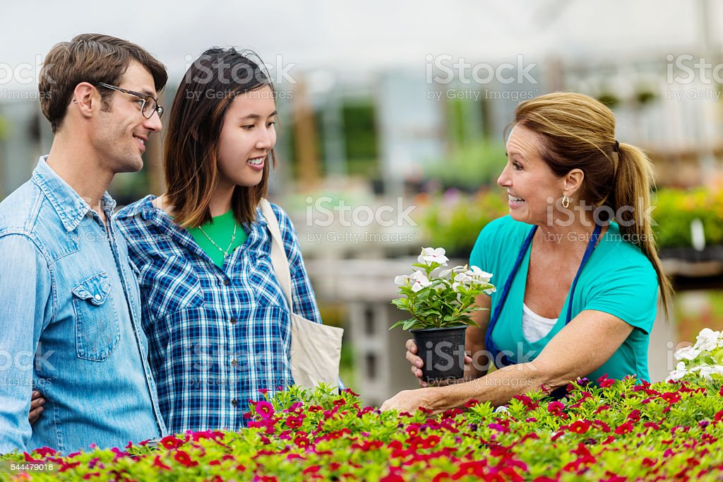 Happy garden center employee selling flowers to couple stock photo