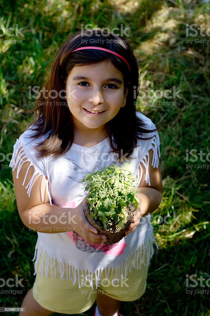 Happy gardener stock photo
