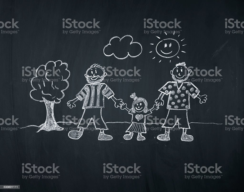 happy gay couple with a little girl on a blackboard vector art illustration