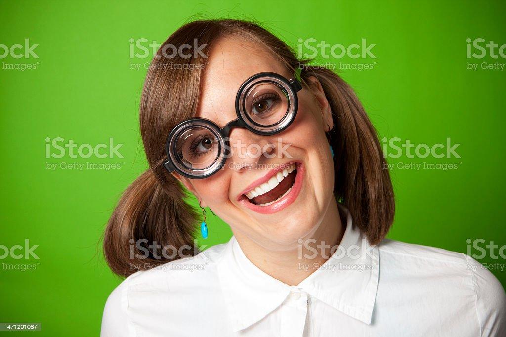 Happy Geek Girl royalty-free stock photo