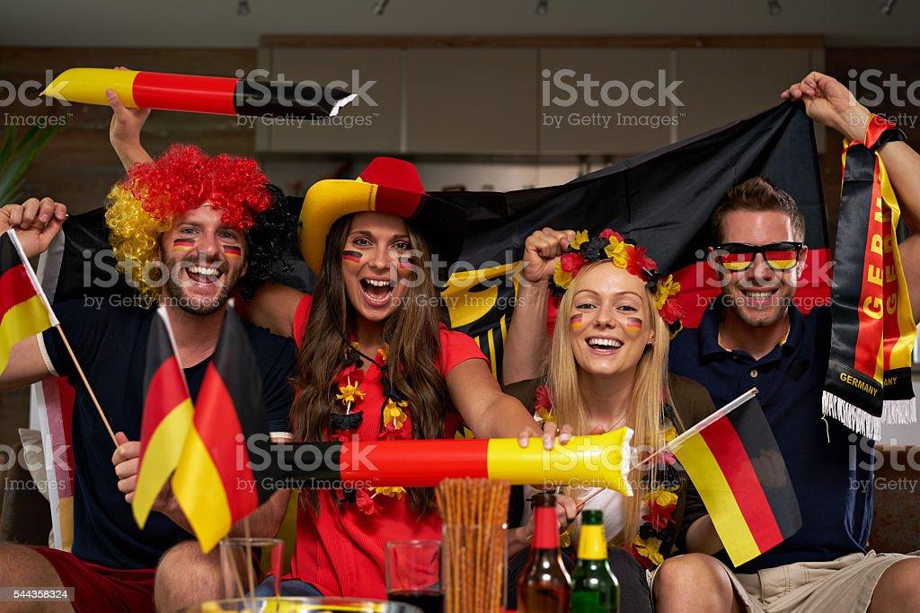 happy German fans stock photo