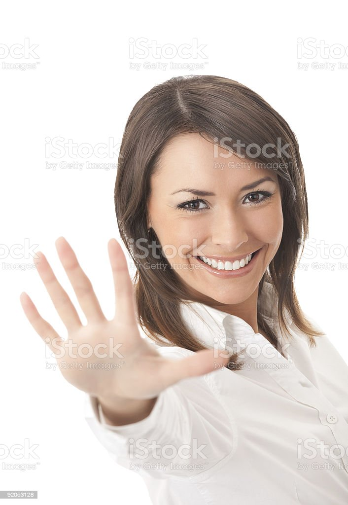 Happy gesturing businesswoman, isolated royalty-free stock photo