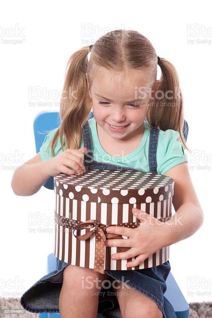 Happy Gift Girl stock photo