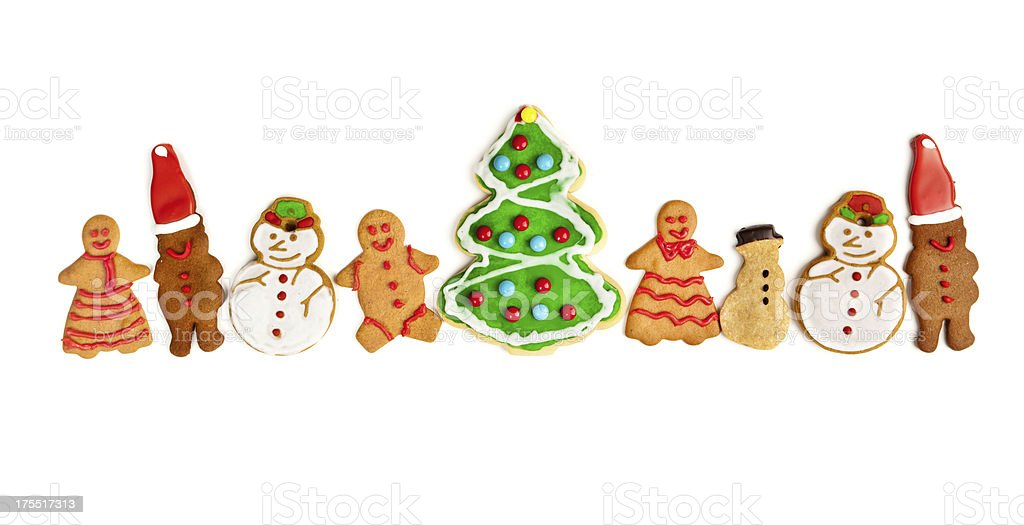 Happy Gingerbread Man Snowman and Christmas Tree Cookies on White stock photo