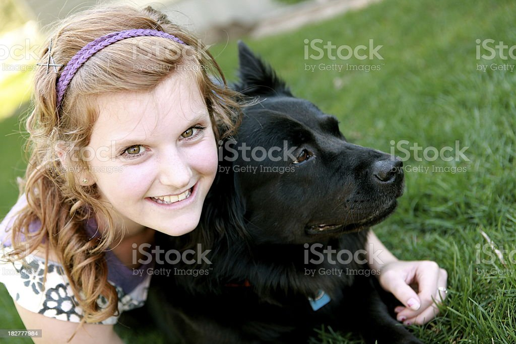 Happy Girl and Dog royalty-free stock photo