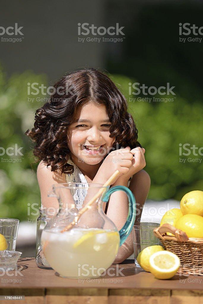 happy girl at lemonade stand royalty-free stock photo