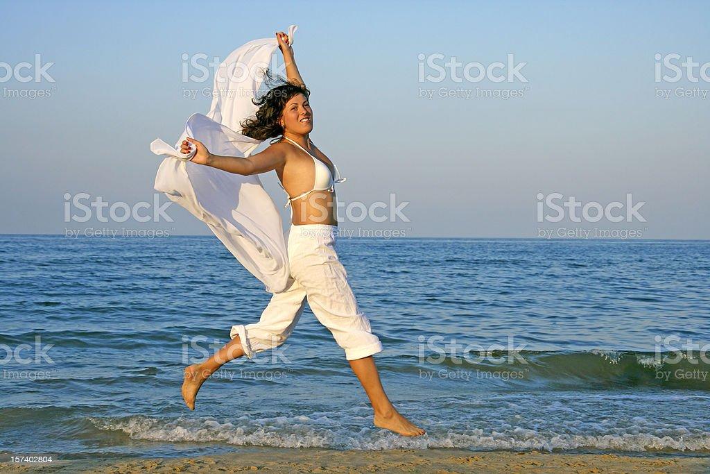 Happy girl at the beach royalty-free stock photo