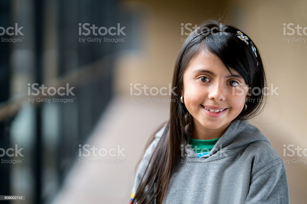 Happy girl at the school stock photo