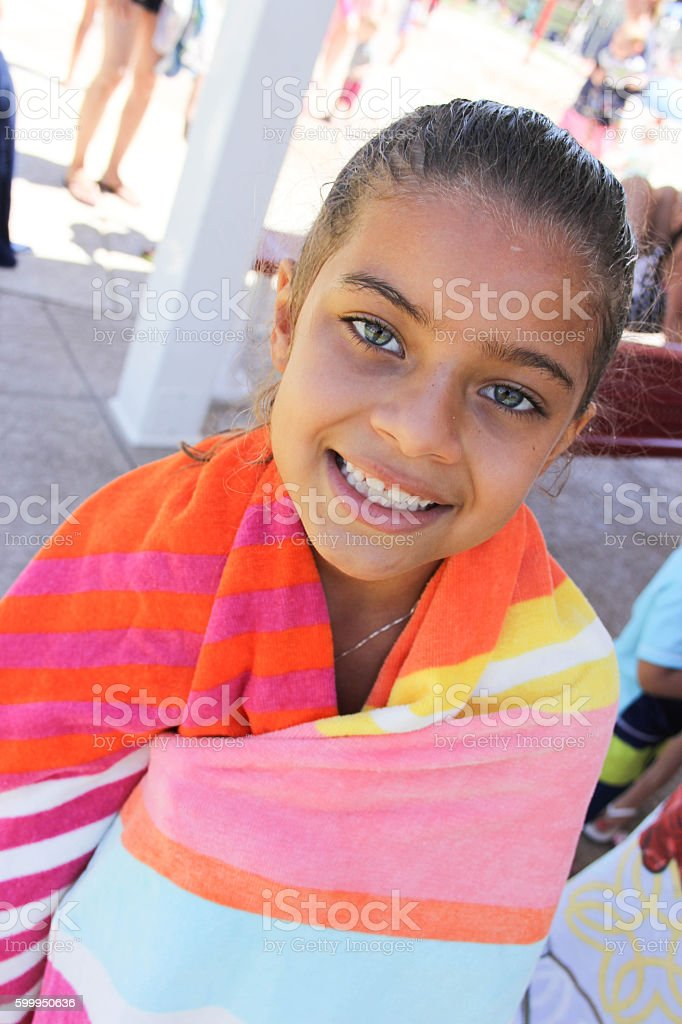 Happy Girl at the Splash Pad stock photo