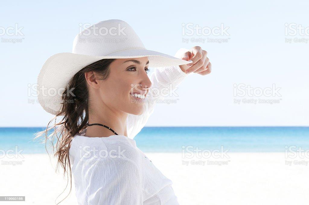 Happy girl at tropical beach royalty-free stock photo