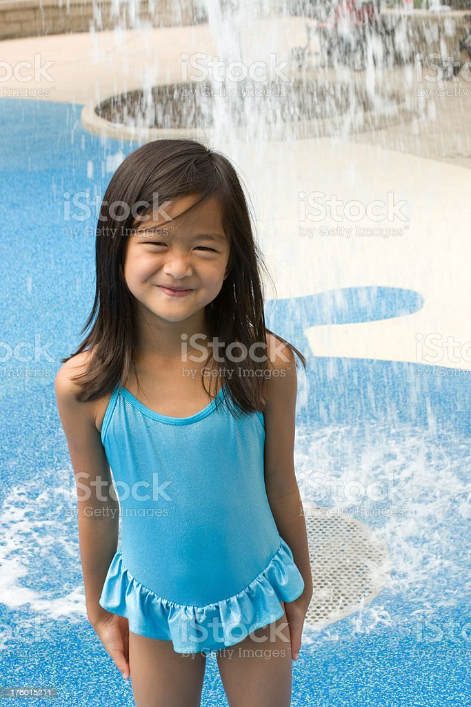Happy girl at water park royalty-free stock photo