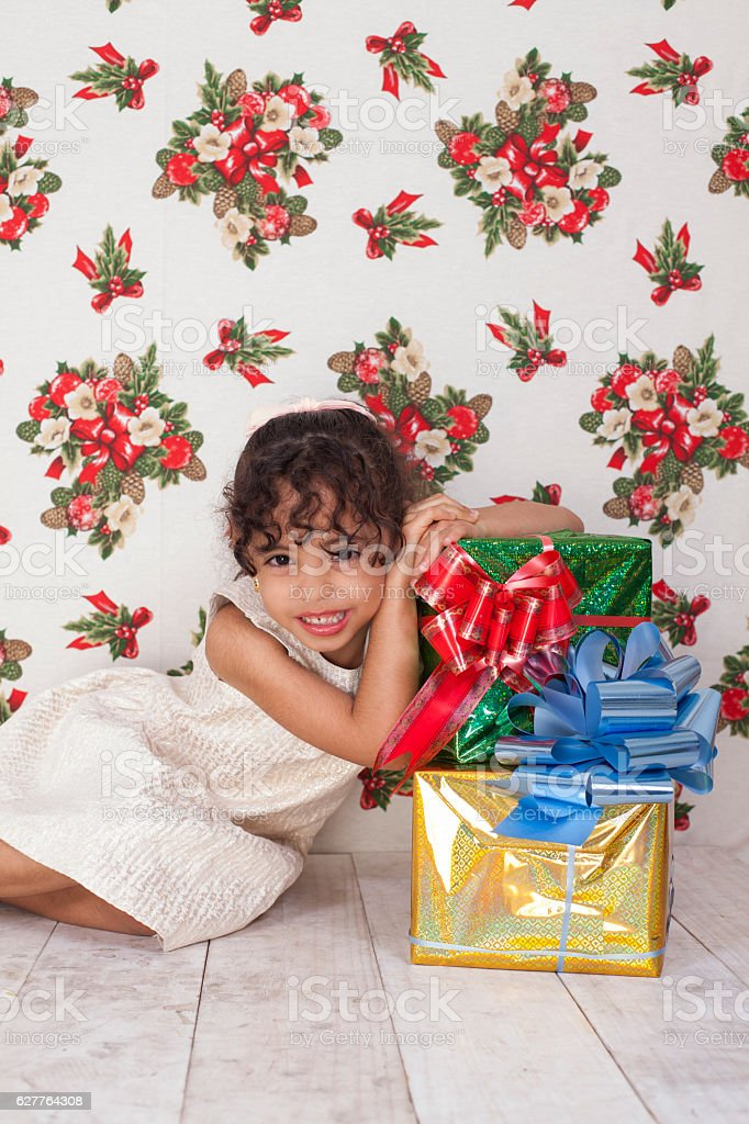 Happy girl for her new gifts stock photo