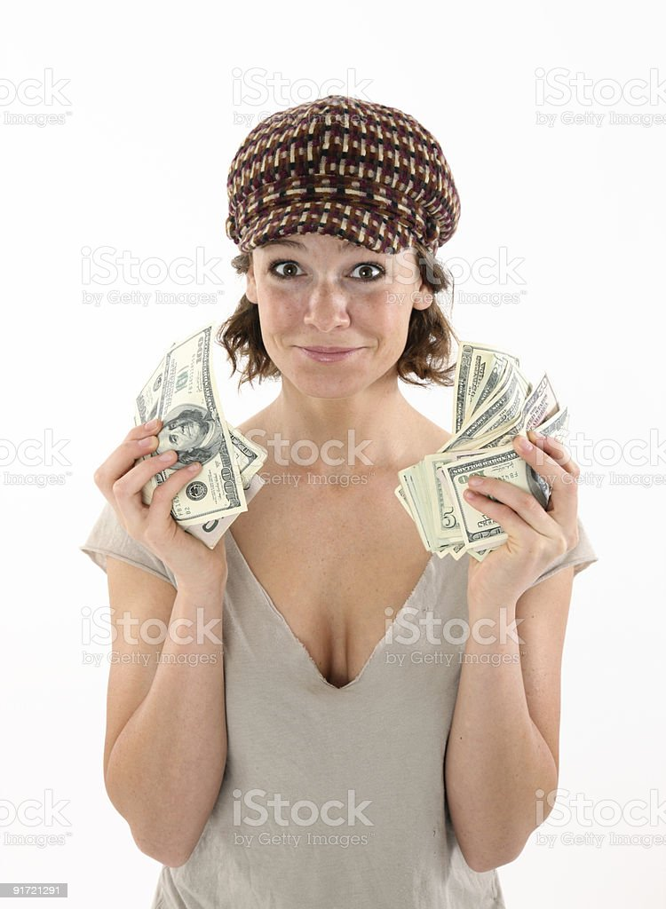 Happy girl holding money royalty-free stock photo