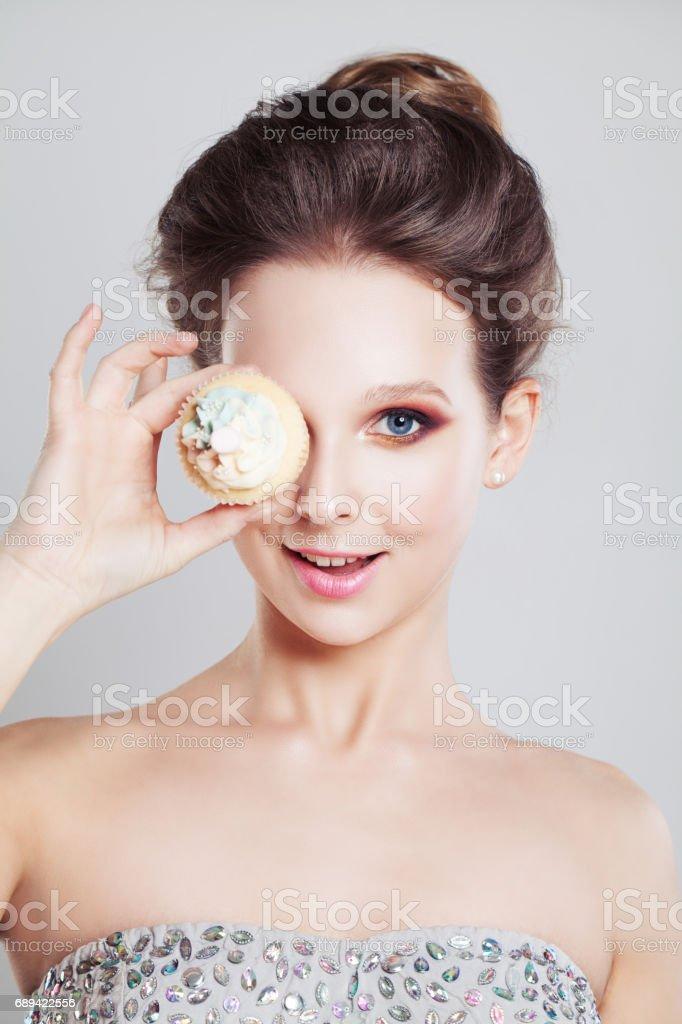 Happy Girl holding Sweet Cake stock photo