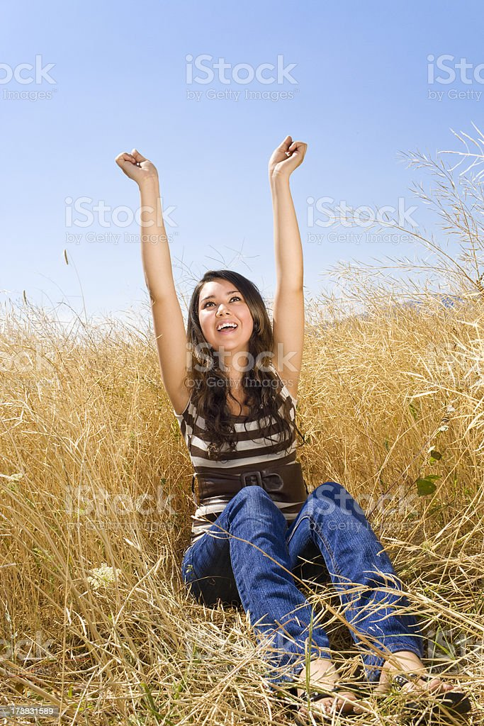 Happy Girl In A Summer Field royalty-free stock photo