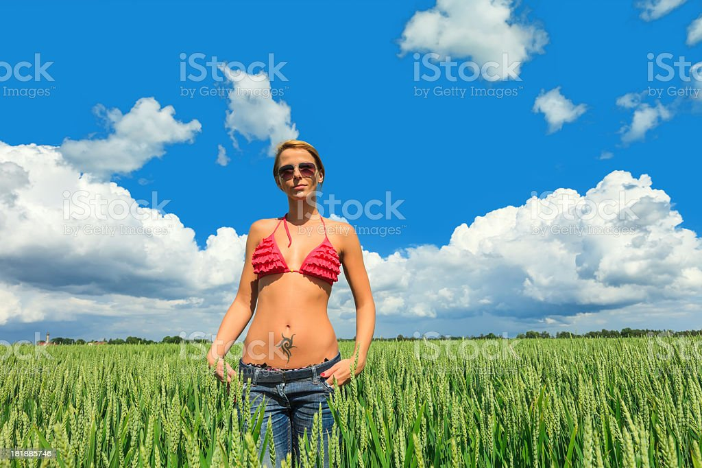 Happy girl in a wheat field royalty-free stock photo