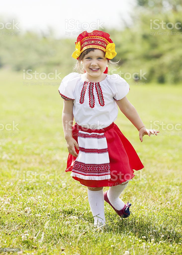 Happy girl in  folk clothes royalty-free stock photo