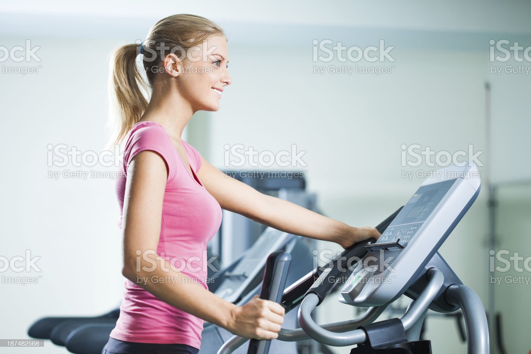 Happy girl in gym royalty-free stock photo