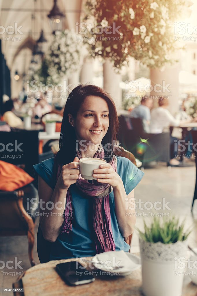 Happy girl in Krakow stock photo
