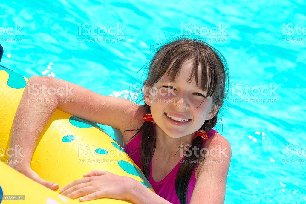 Happy girl in pool royalty-free stock photo