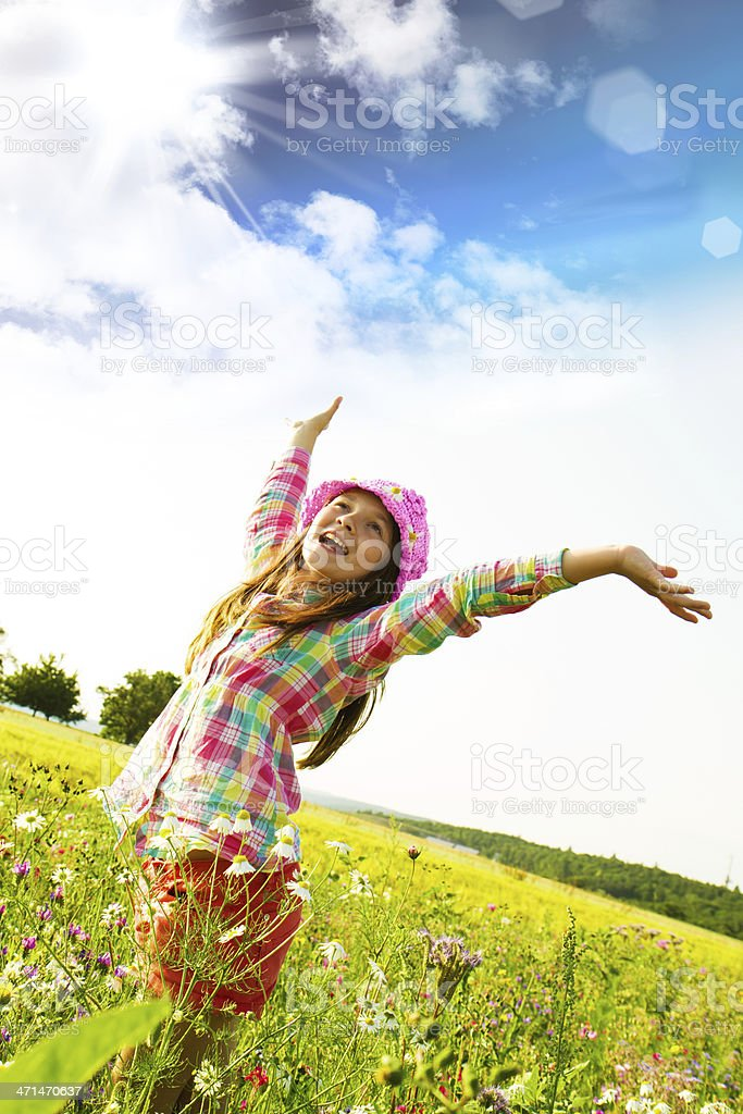 Happy girl in the middle of nature stock photo