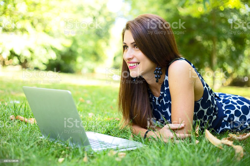 happy girl in the park royalty-free stock photo