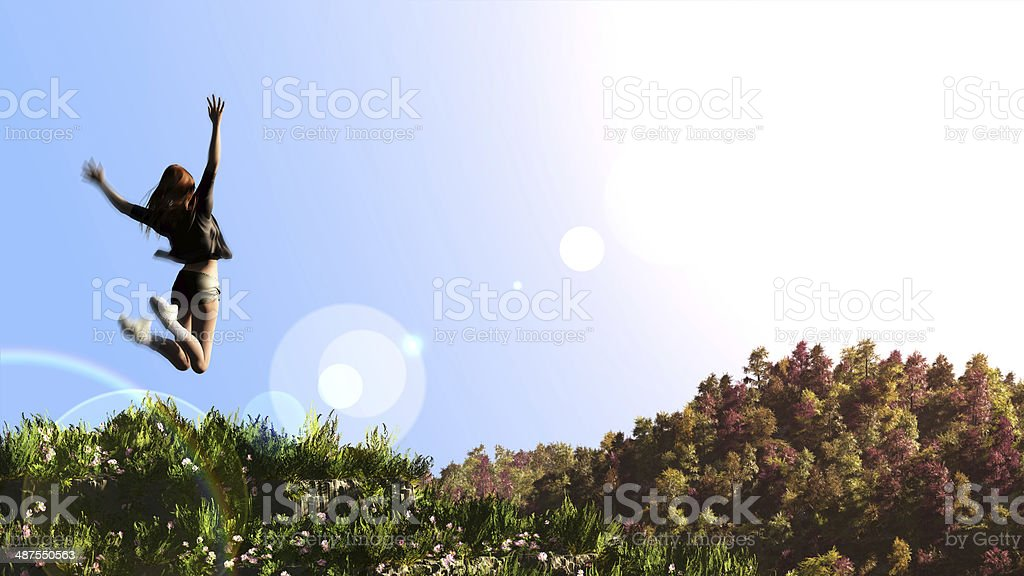 Happy girl jumps to the sky happy concept stock photo