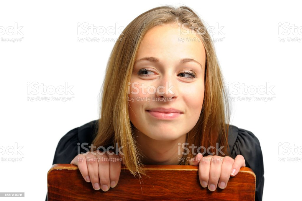 Happy Girl Looking Sideways royalty-free stock photo
