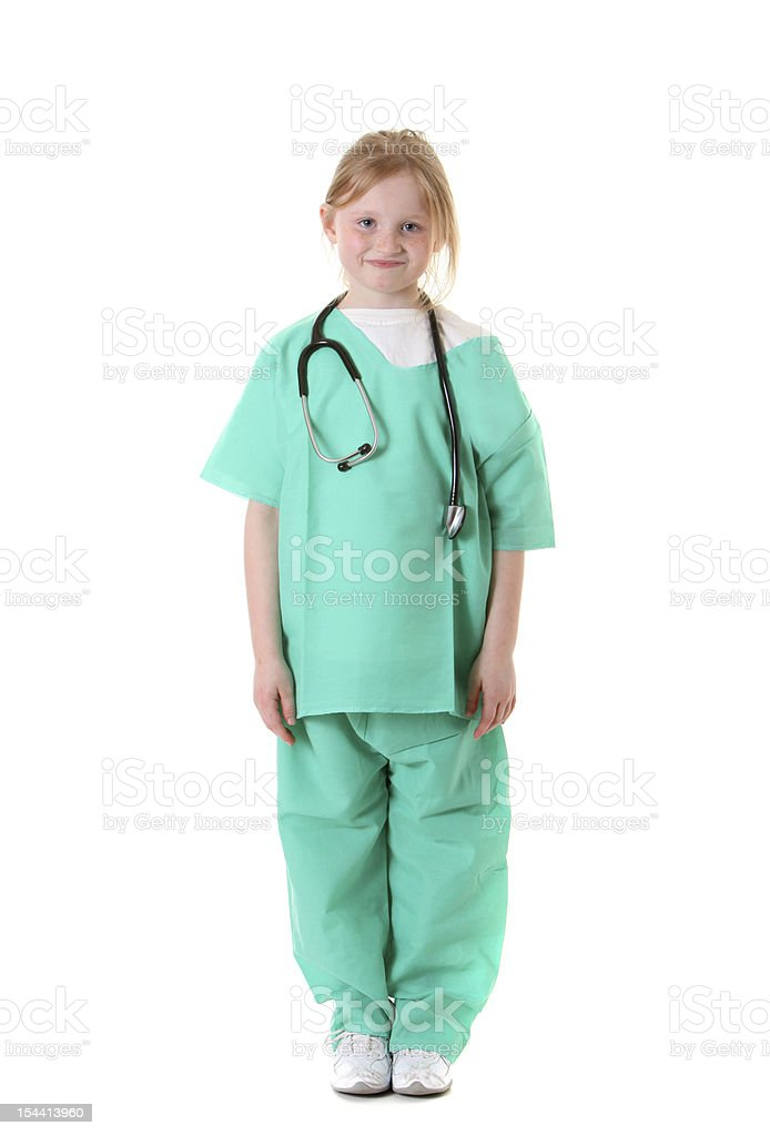 happy girl nurse standing stock photo