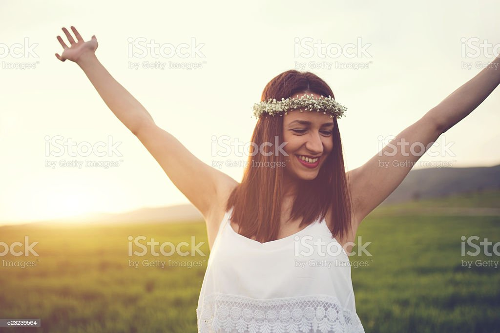 Happy girl on a beautiful day stock photo