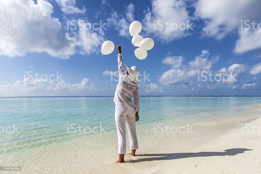 Happy Girl on the Beach royalty-free stock photo