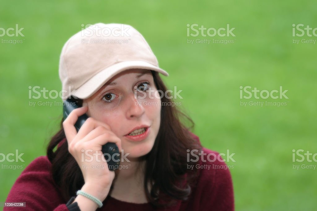Happy girl on the phone royalty-free stock photo