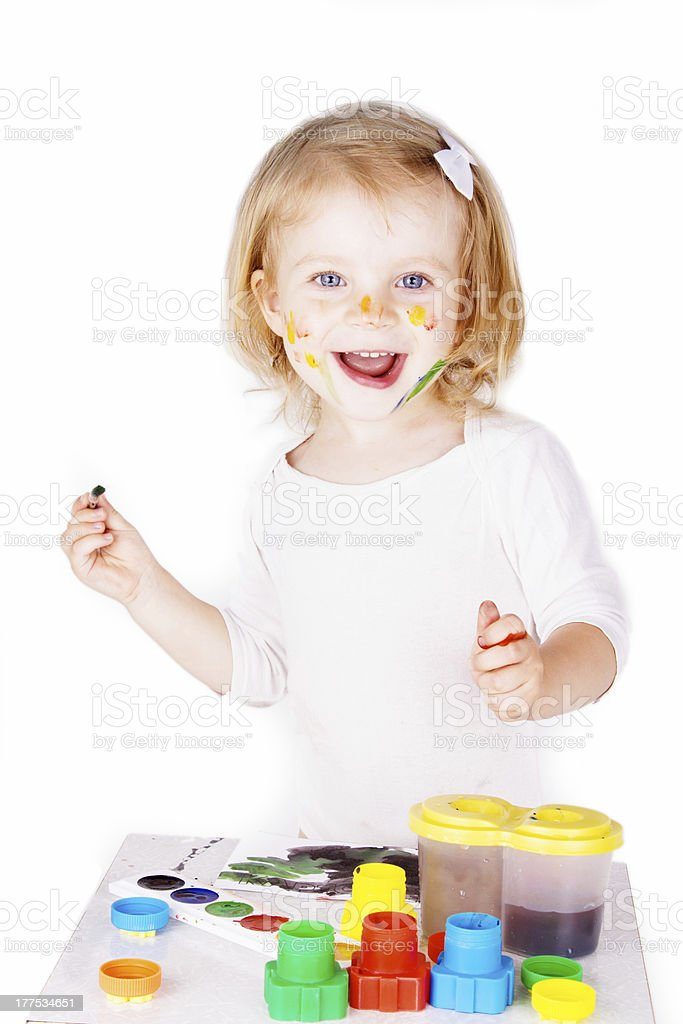 Happy girl painting stock photo