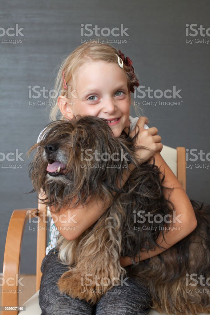 Happy Girl Portrait with her Dog stock photo
