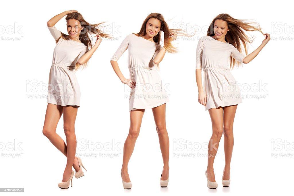 Happy girl posing over white background - composite stock photo