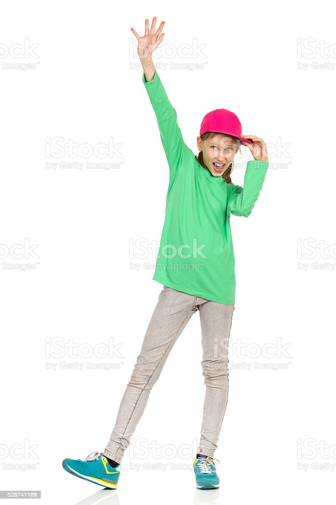 Happy Girl Shouting And Waving stock photo