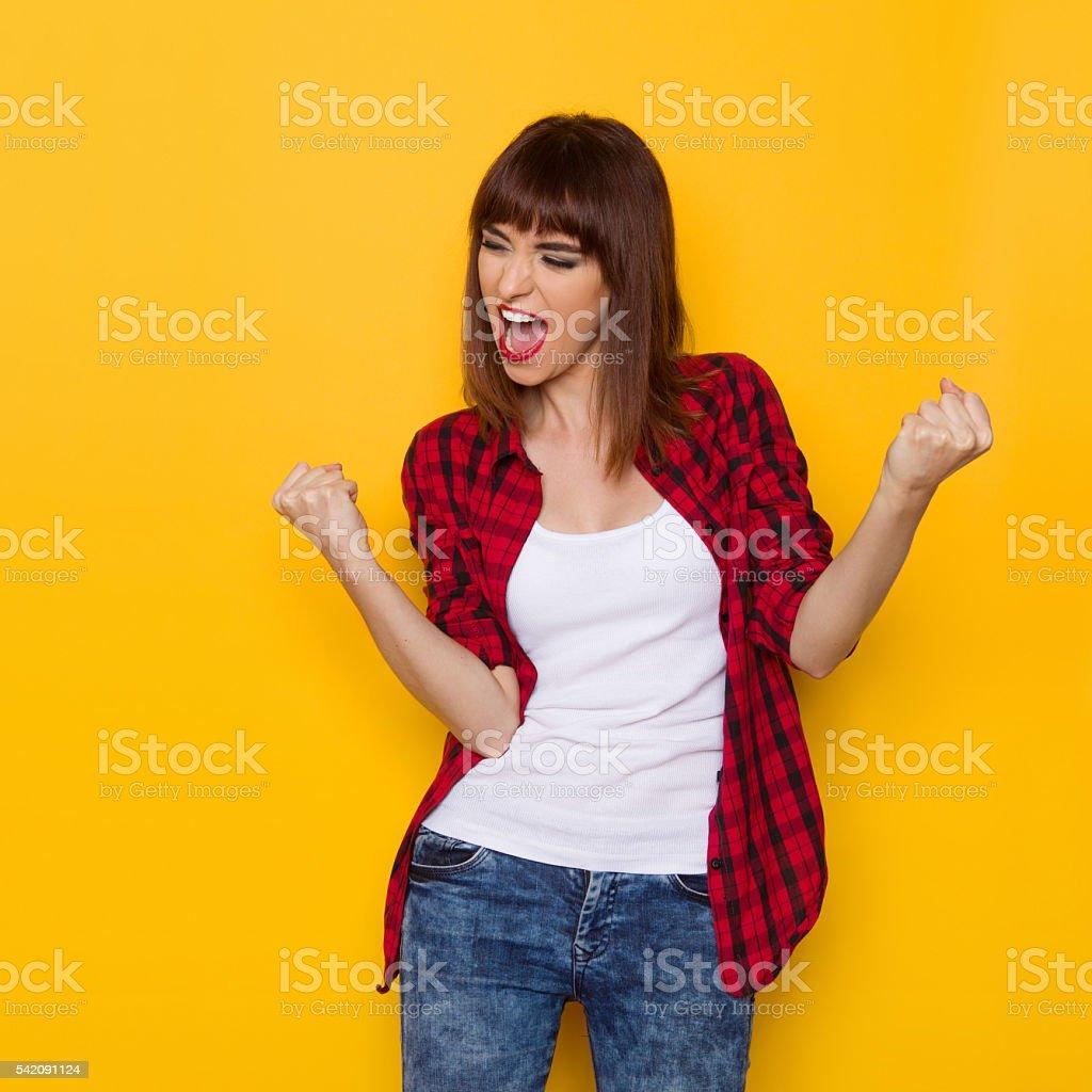 Happy Girl Shouting stock photo