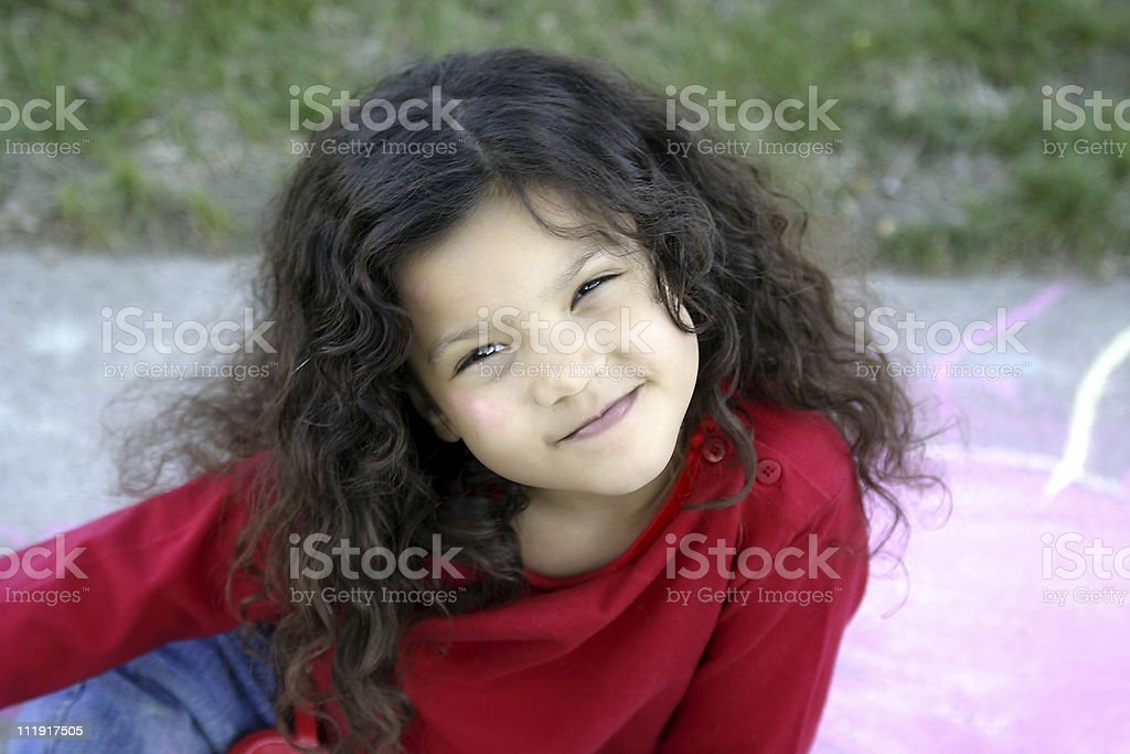 Happy Girl Squinting royalty-free stock photo