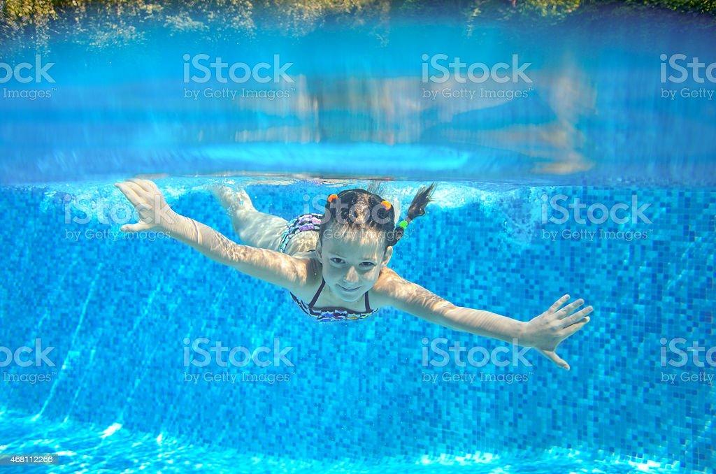 Happy girl swims in pool underwater, active kid swimming stock photo