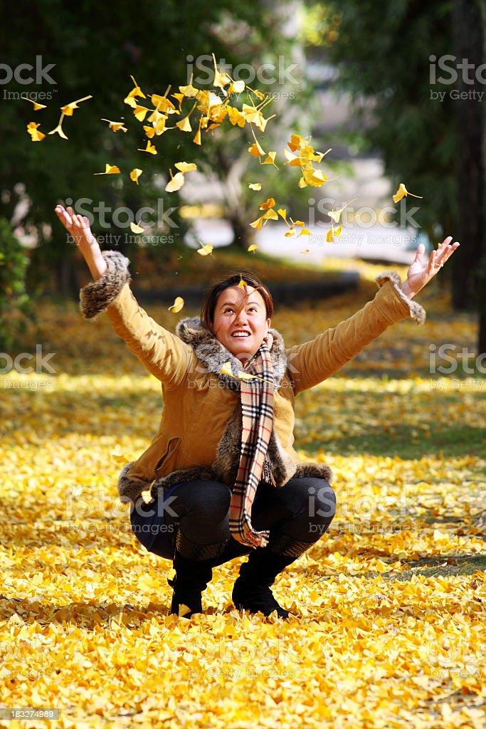 Glücklich werfen Herbst Blätter Lizenzfreies stock-foto