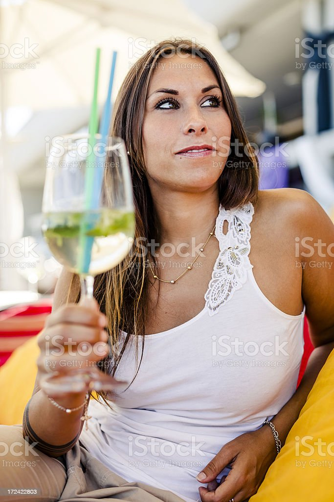 Happy Girl toasting outdoors royalty-free stock photo