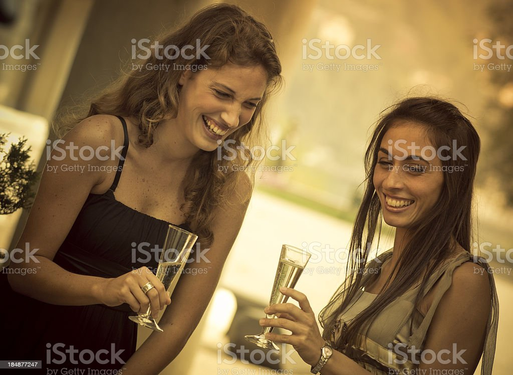 Happy Girl toasting outdoors royalty-free stock photo