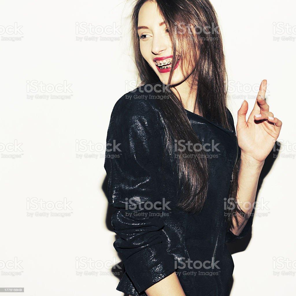 Happy girl wearing braces royalty-free stock photo